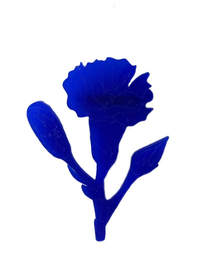 Blue carnation brooch