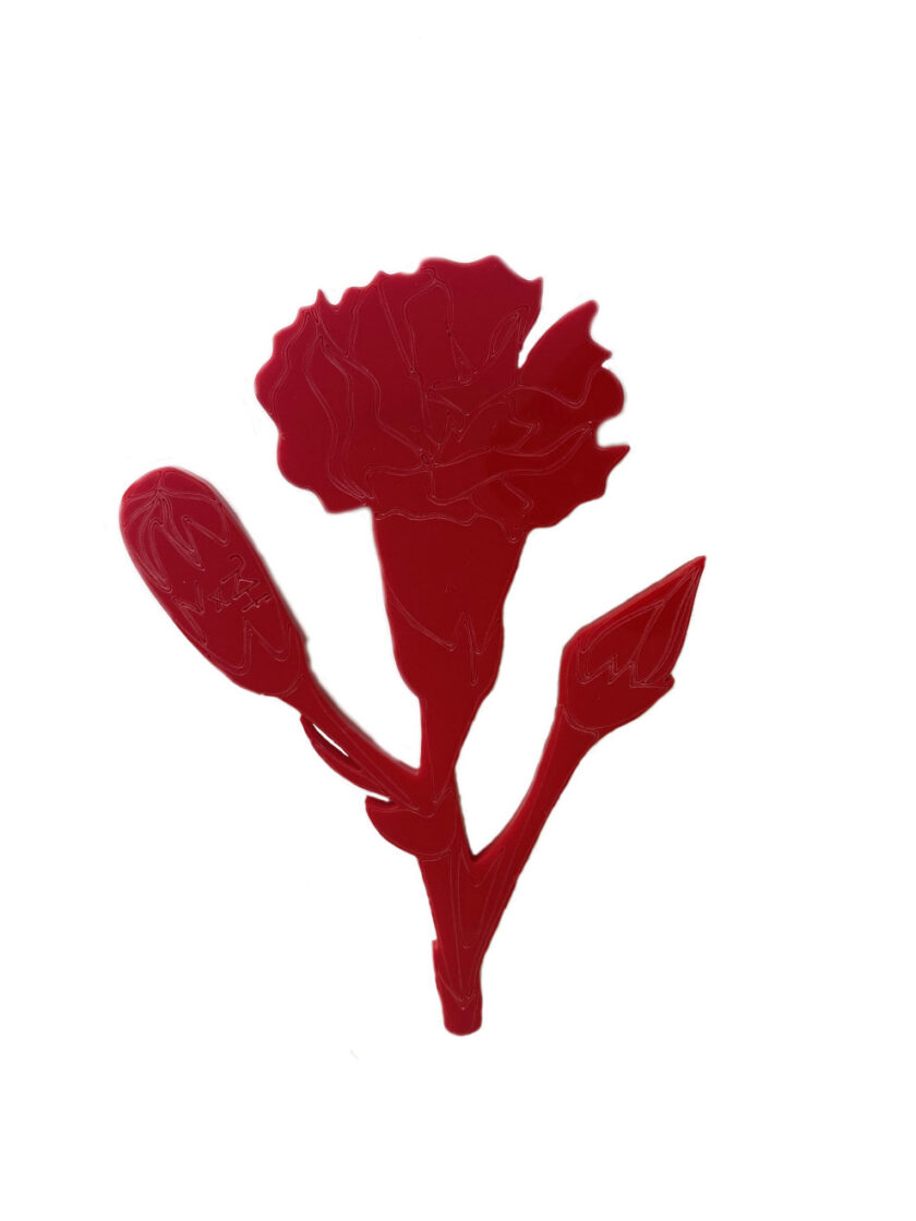 Red carnation brooch