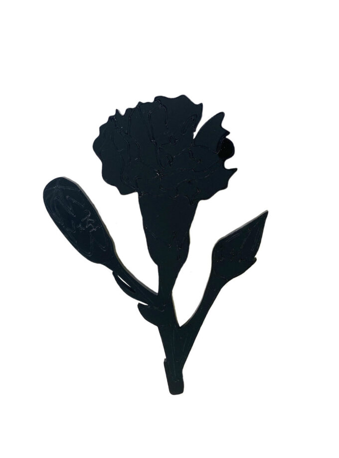 Black carnation brooch