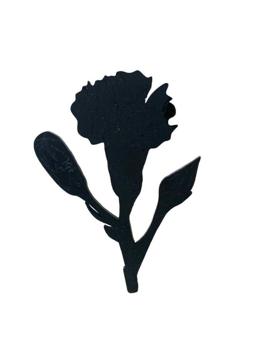 Black carnation brooch