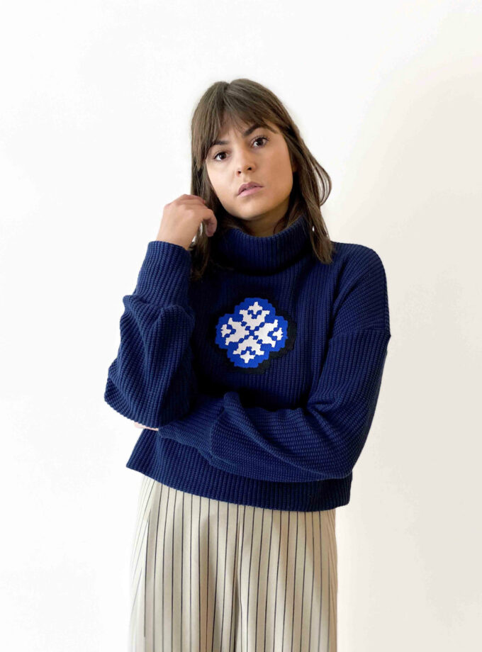 navy knit sweater