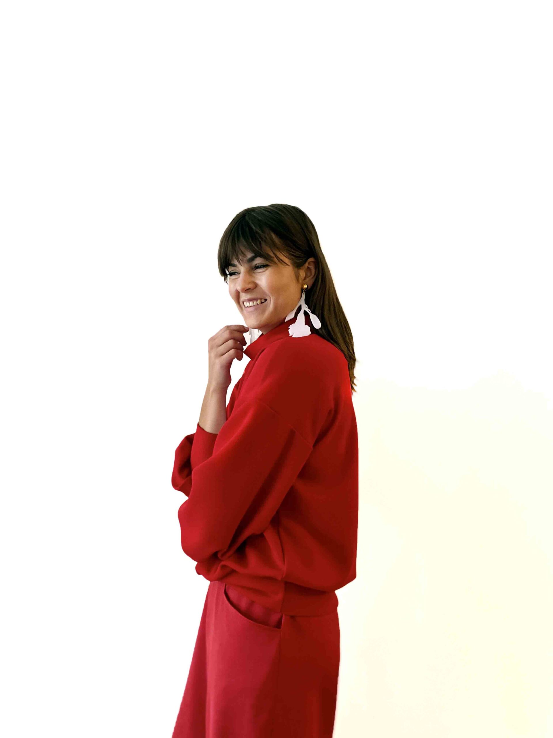 red sweater with patch