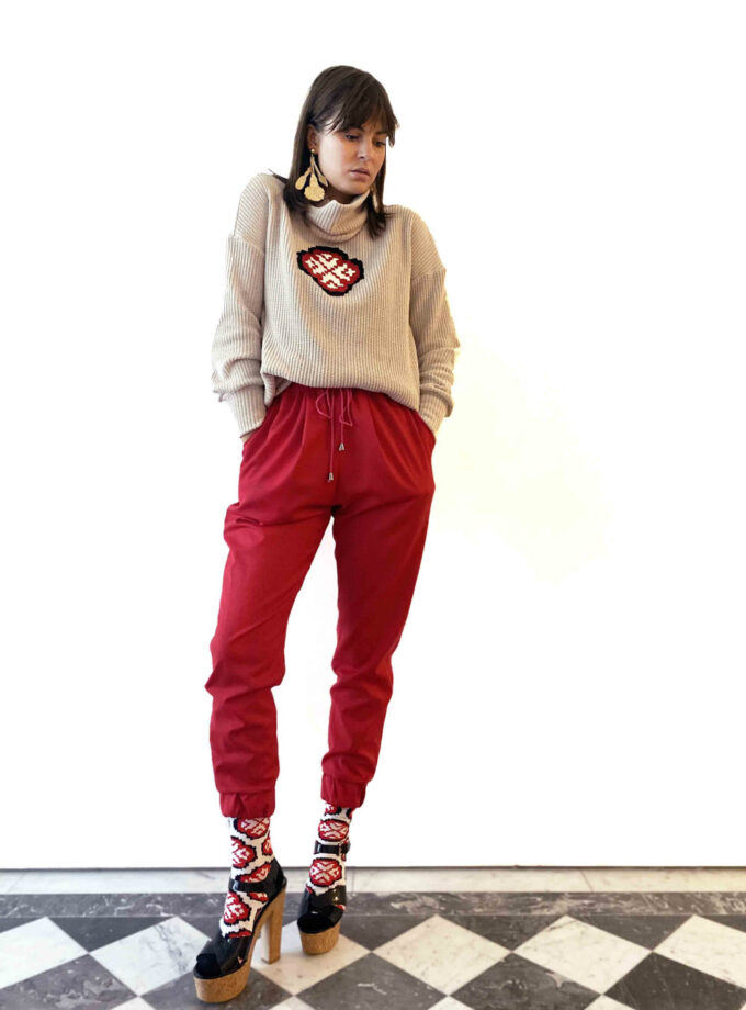 red jogger trousers