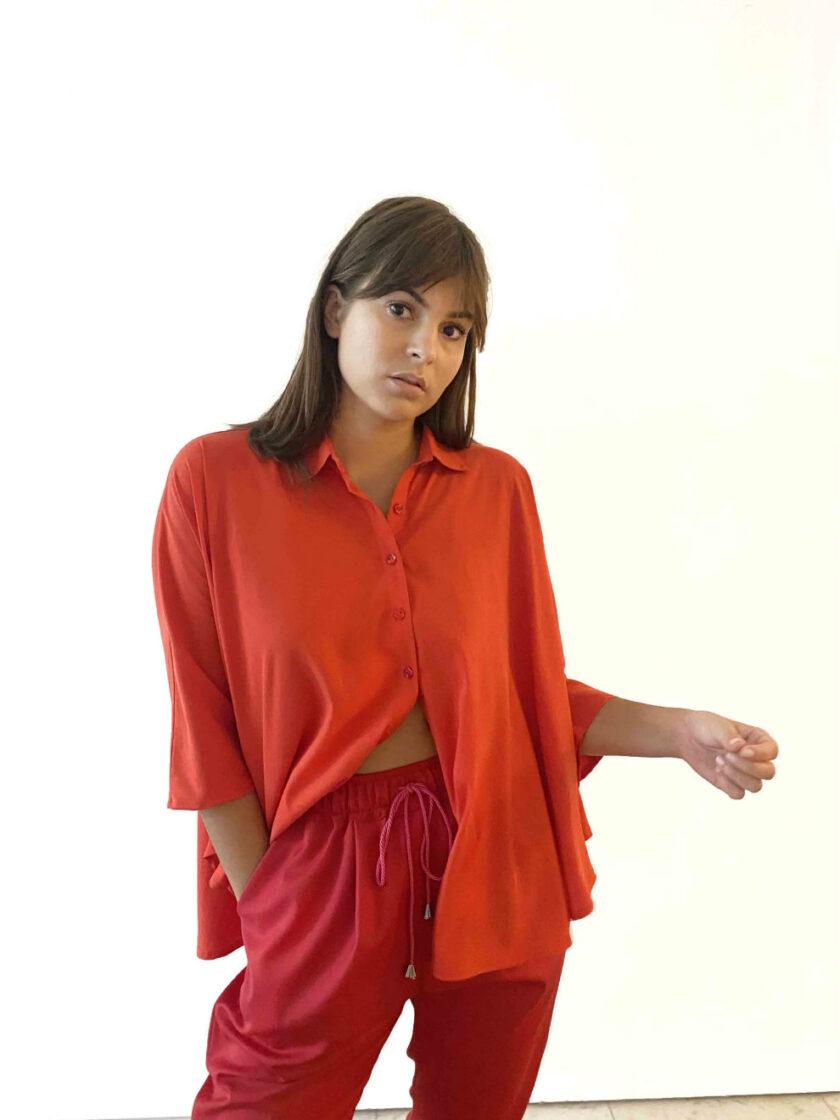 red tenel kimono shirt