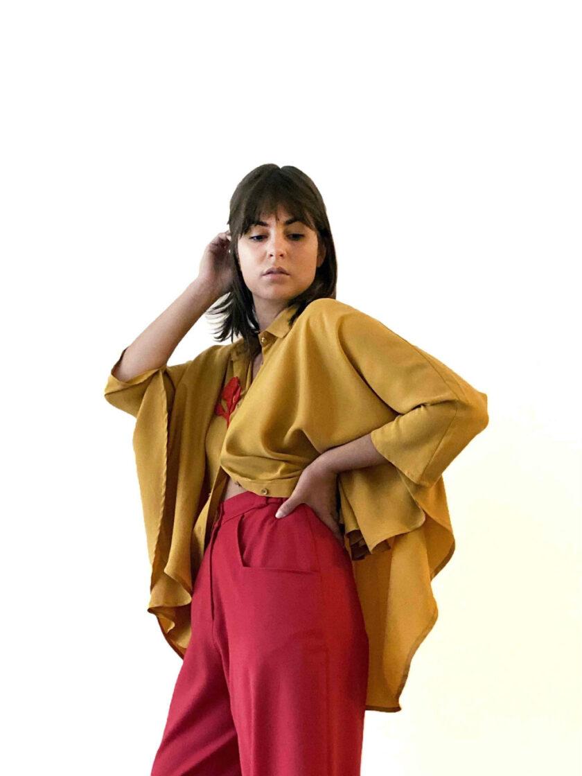 Yellow tencel shirt
