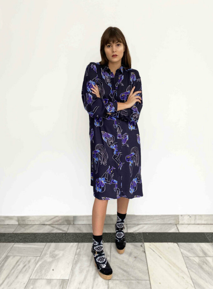 JKH dina blue print dress