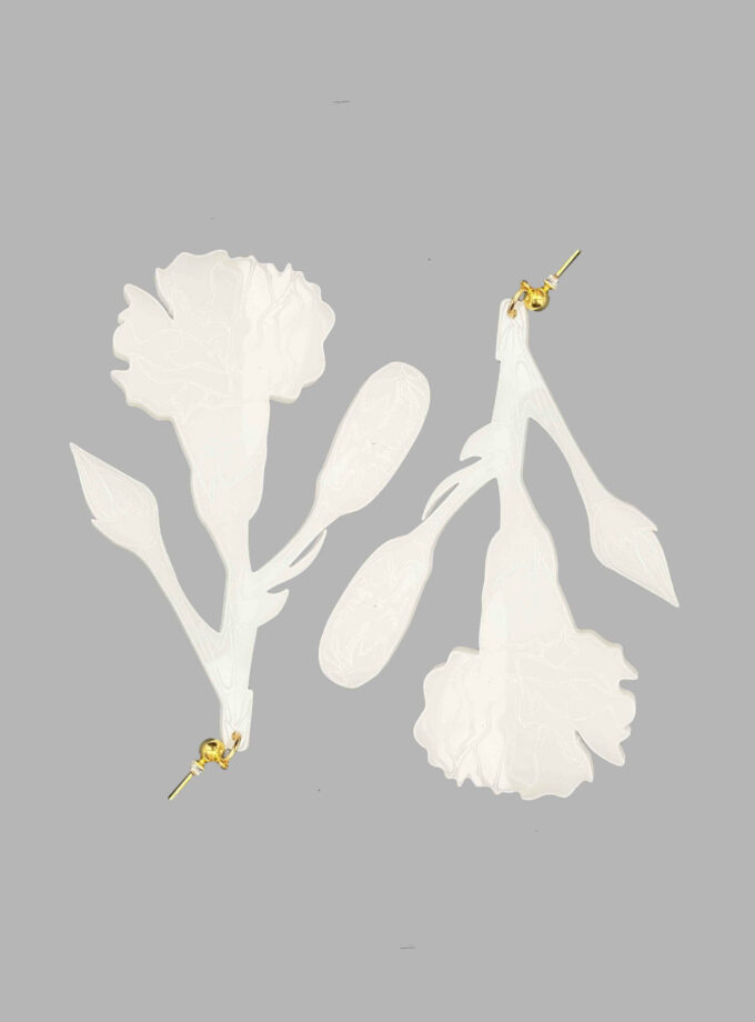 white carnation earrings