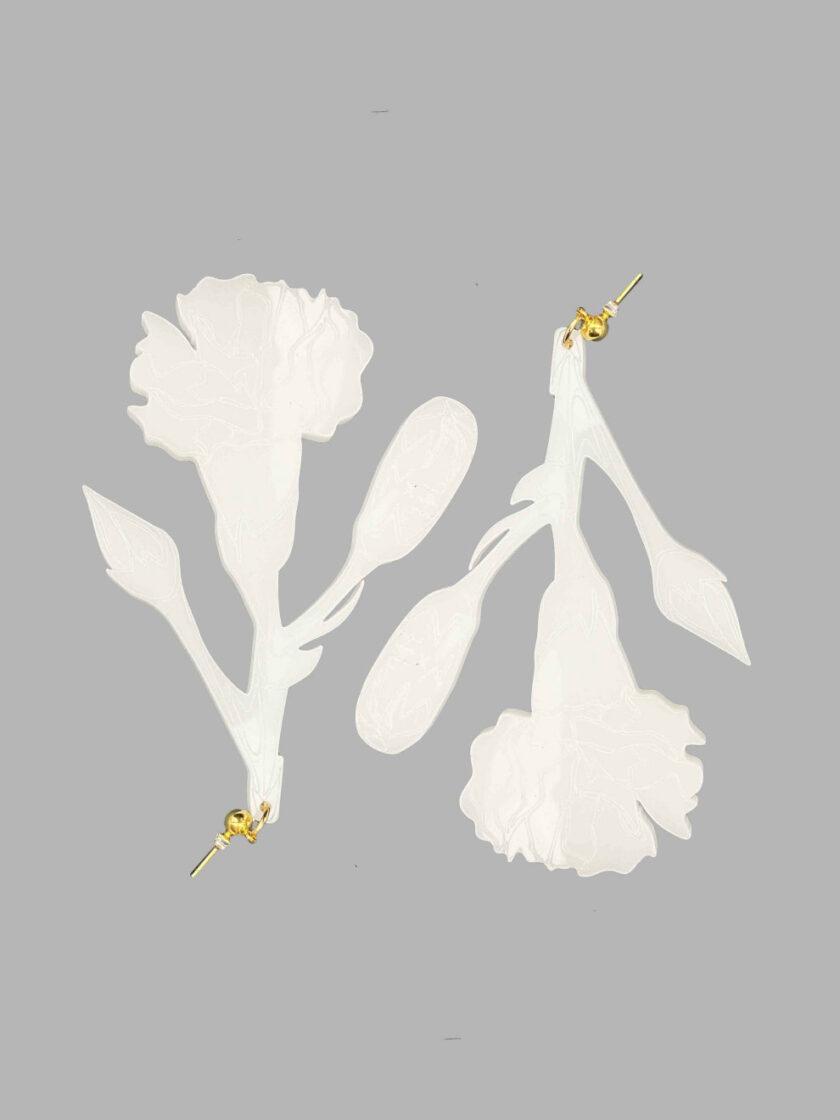 white carnation earrings
