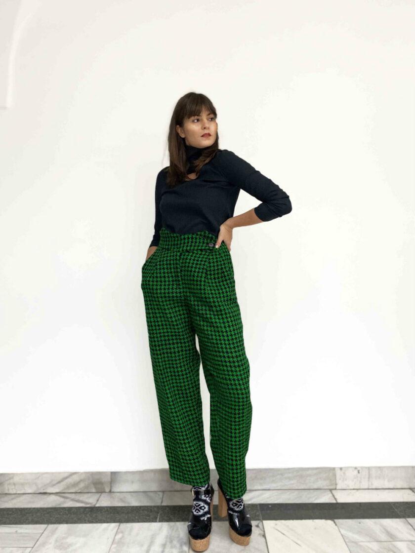 high waist silk trousers