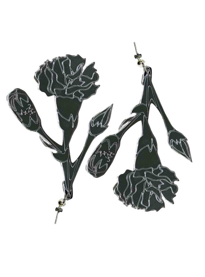 julia kaja hrovat silver carnation earrings