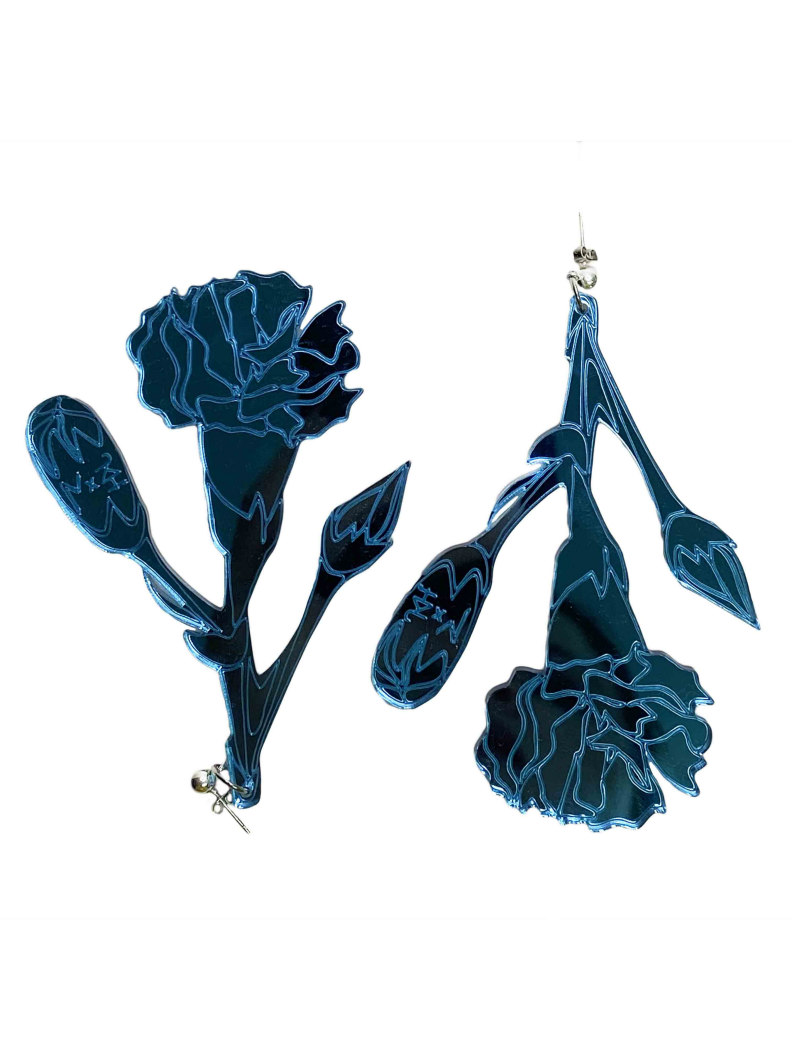 julia kaja hrovat mirrir blue carnation earrings
