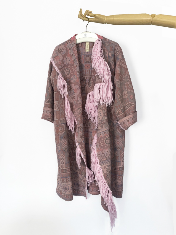 up-cycled cotton coat with wool fringe jkh online shop