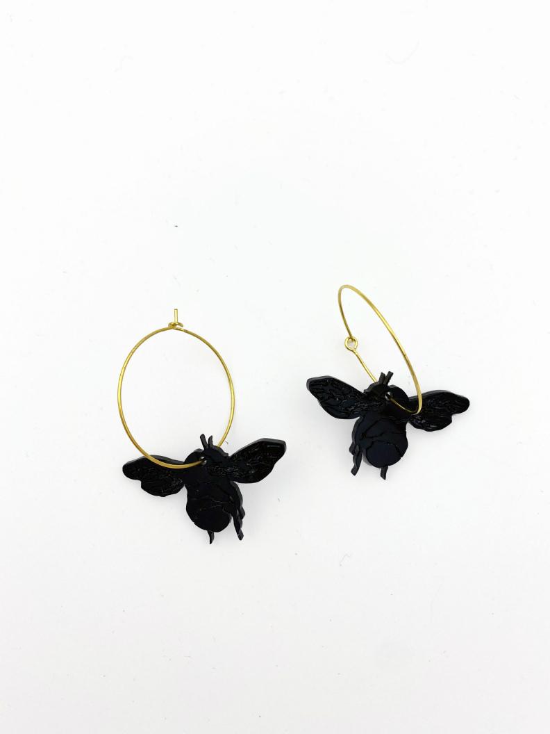 jkh honey bee black hoop earrings