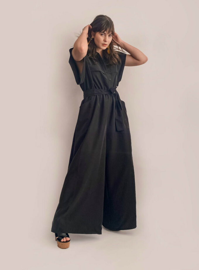 jkh black wide leg jumpsuit button down shirt top and pockets on trousers