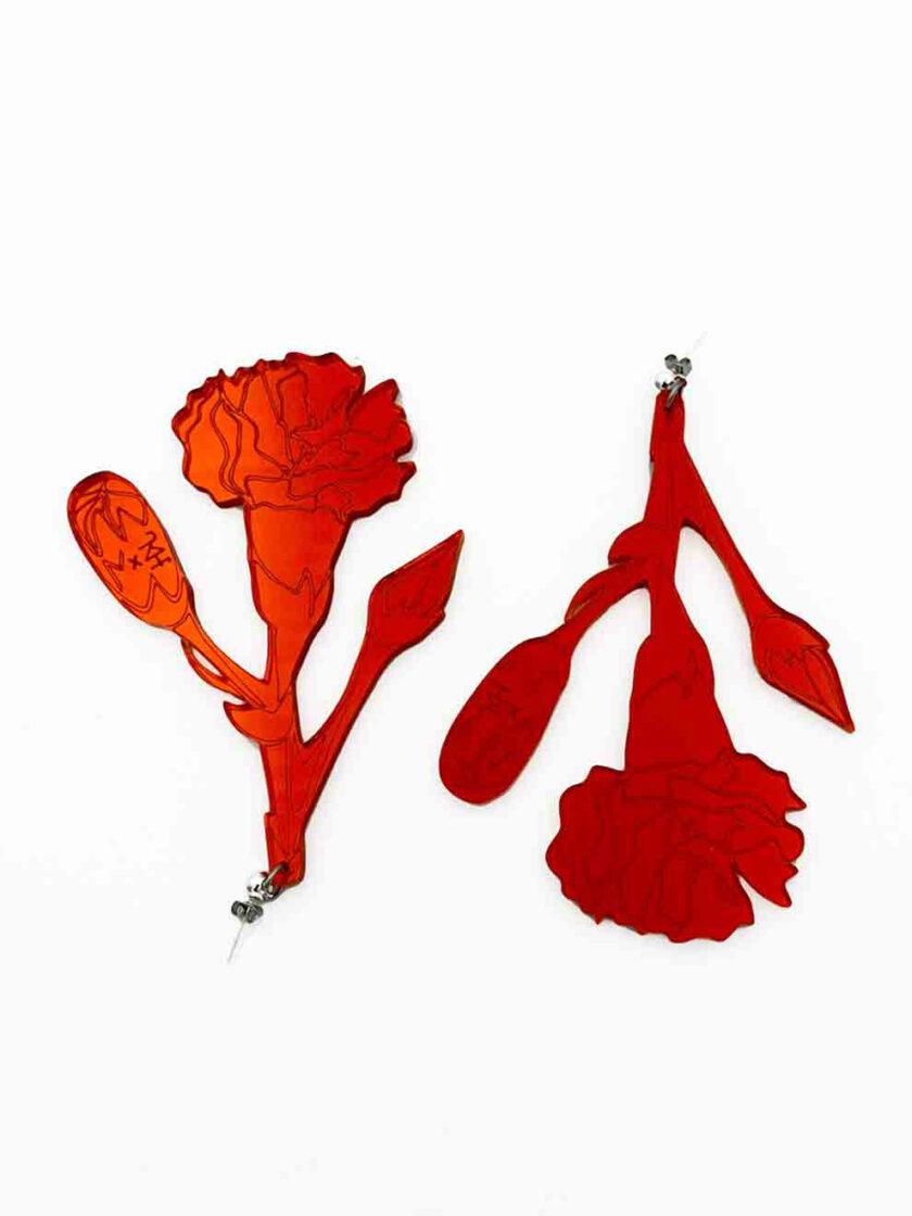 carnation drop earrings red mirror jkh