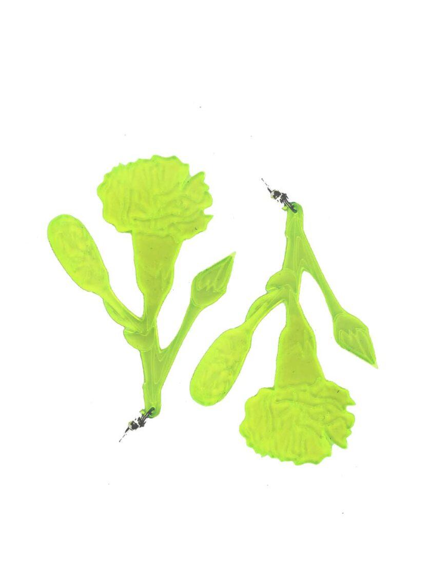 carnation drop earrings neon green jkh