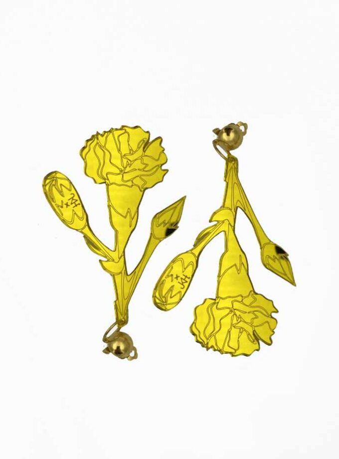 yellow gold clip on carnation jkh earrings
