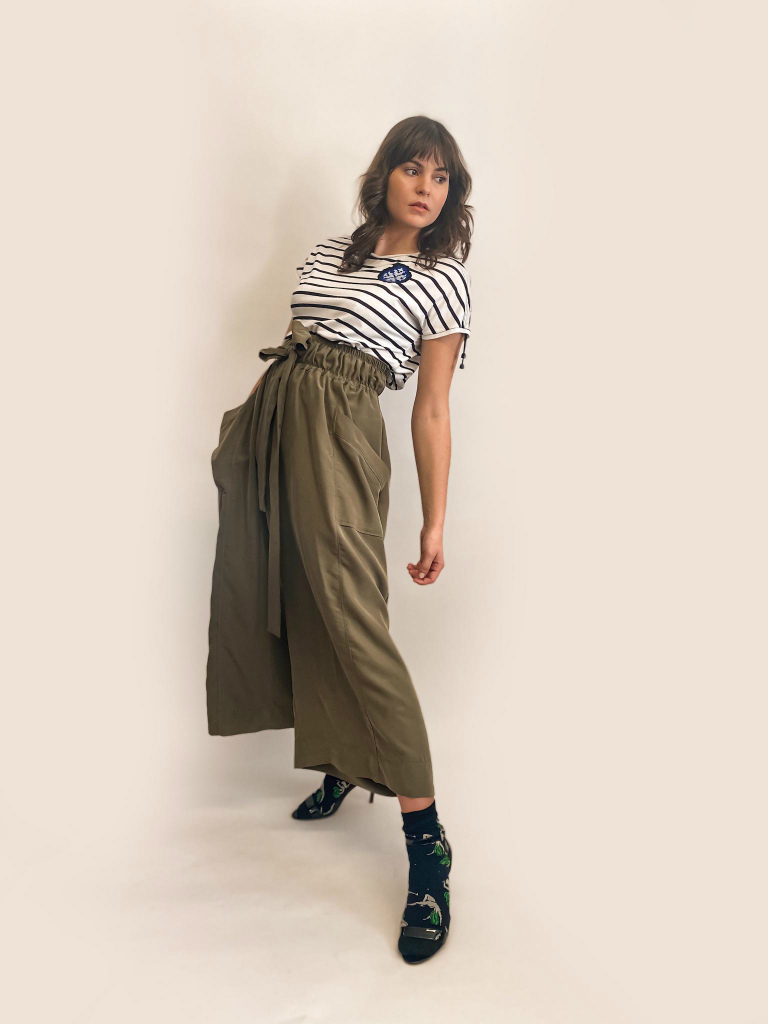 Helena wide leg trousers are light weight have elastic waist jkh online shop