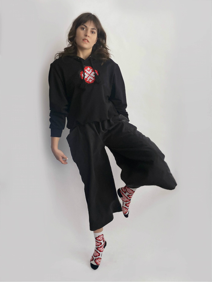 jkh terry knit hoodie red patch flower