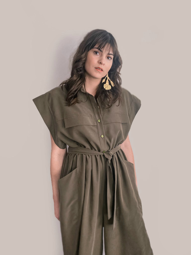 jkh olive green wide leg jumpsuit button down shirt top and pockets on trousers
