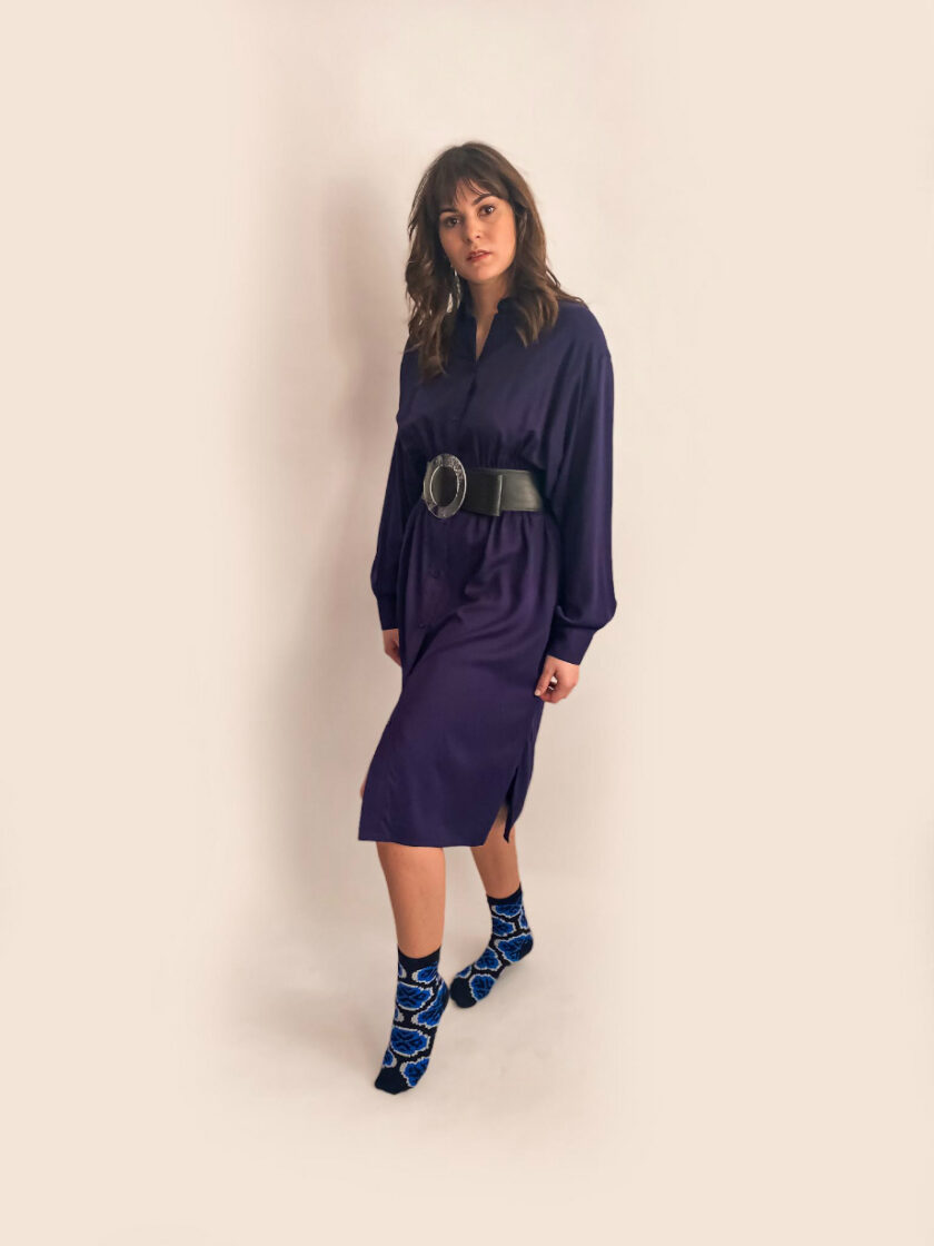 navy blue shirt dress capsule wardrobe elastic waist jkh online shop
