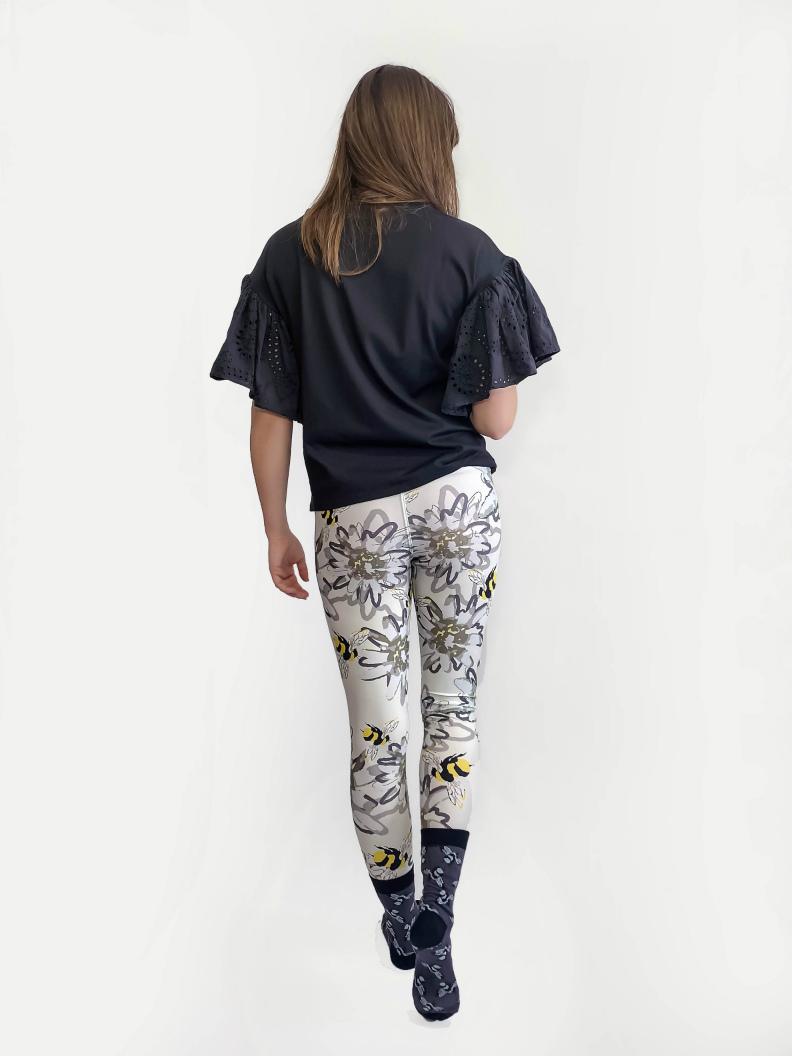 jkh honey bee and edelweis print leggings designer leggings cool print summer style