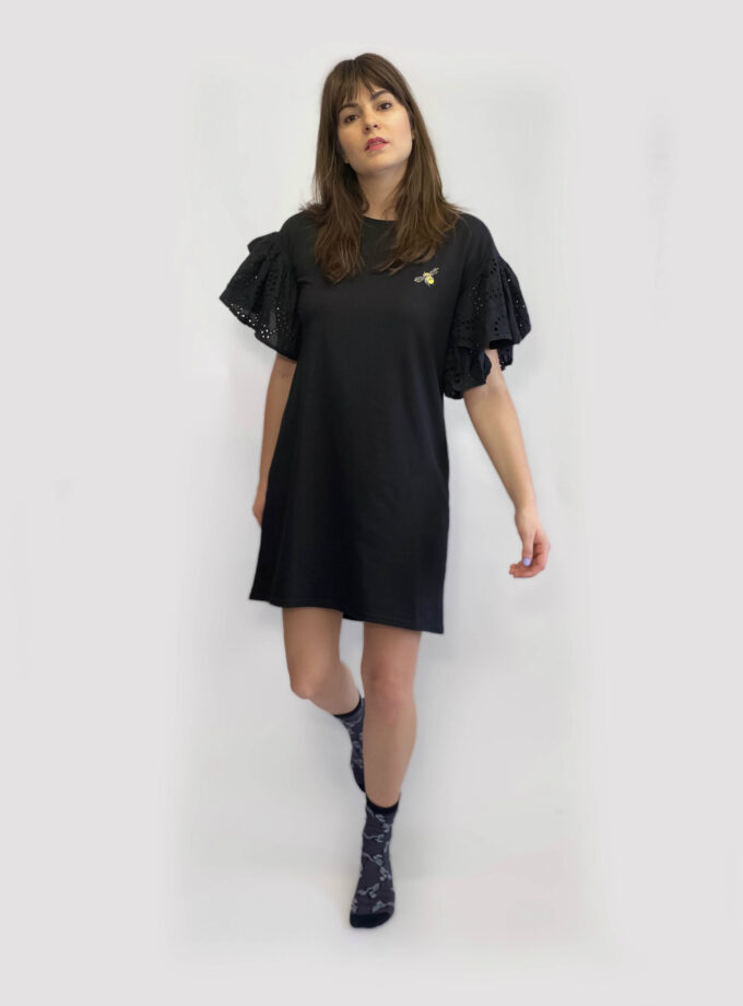 jkh ruffle jersey dress tshirt dress black and honey bee