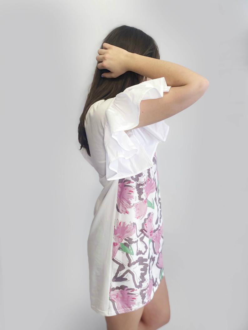 jkh ruffle dress julia kaja hrovat summer print pink dress jersey cotton slovenina design independent fashion designer
