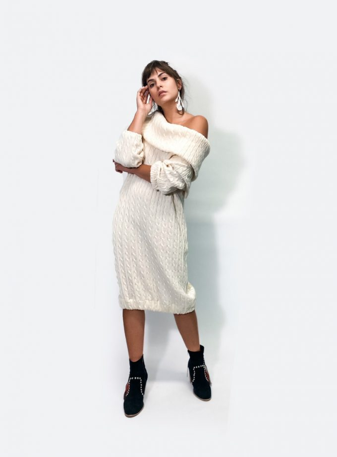 jkh white cable knit dress off the shoulder collar