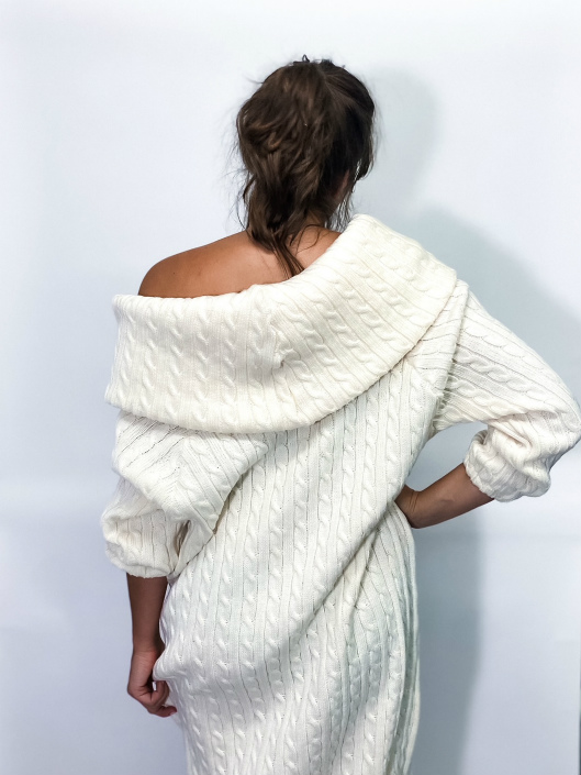 jkh white cable knit dress off the shoulder collar winter white dress
