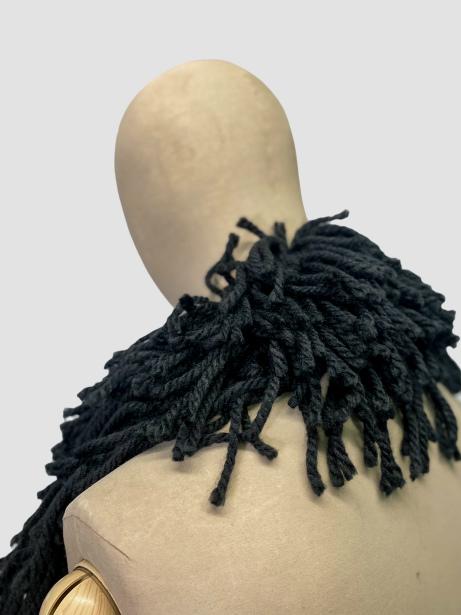 jkh identity wool fringe boho collar stole accessory